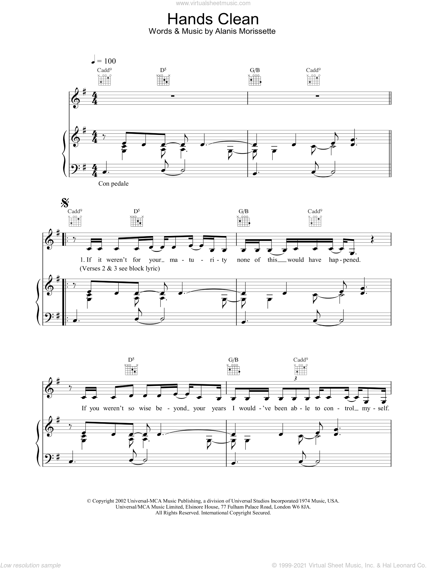Hands Clean sheet music for voice, piano or guitar by Alanis Morissette, intermediate. Score Image Preview.