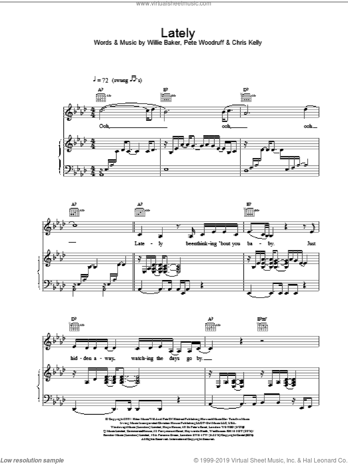 Lately sheet music for voice, piano or guitar by Samantha Mumba, Chris Kelly, Pete Woodruff and Willie Baker, intermediate. Score Image Preview.