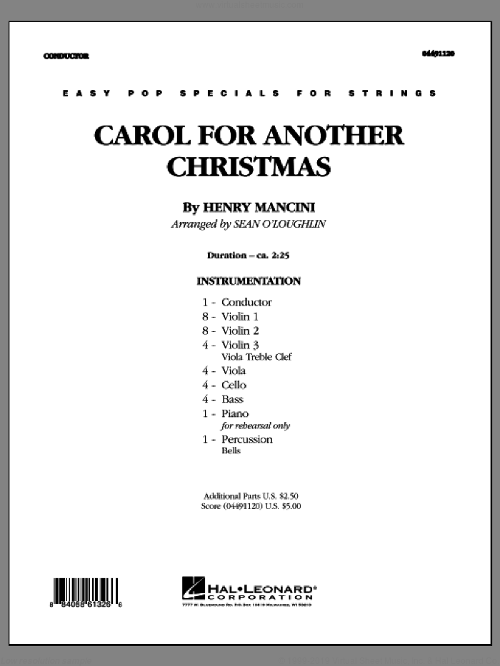 Carol For Another Christmas (COMPLETE) sheet music for orchestra by Henry Mancini. Score Image Preview.