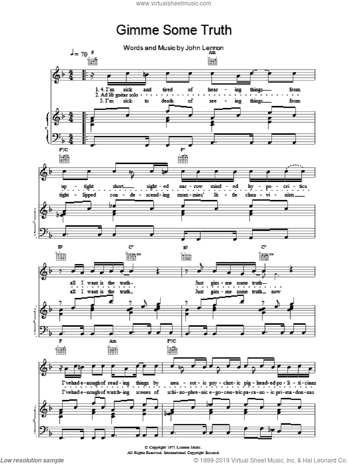 Gimme Some Truth sheet music for voice, piano or guitar by John Lennon, intermediate skill level
