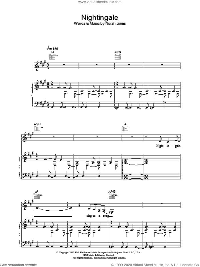 Nightingale sheet music for voice, piano or guitar by Norah Jones, intermediate skill level