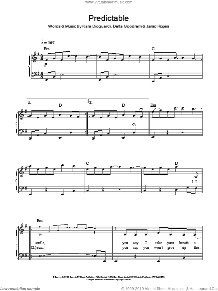 Predictable, (easy) sheet music for piano solo by Delta Goodrem, Jarrad Rogers and Kara DioGuardi, easy
