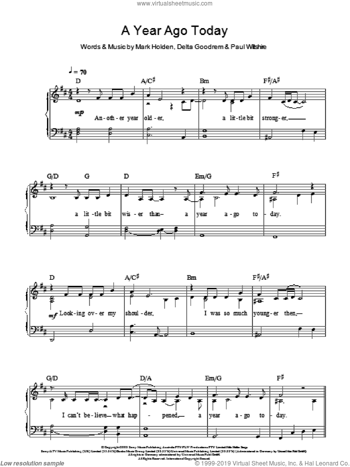 A Year Ago Today sheet music for piano solo by Delta Goodrem, Mark Holden and Paul Wiltshire, easy skill level