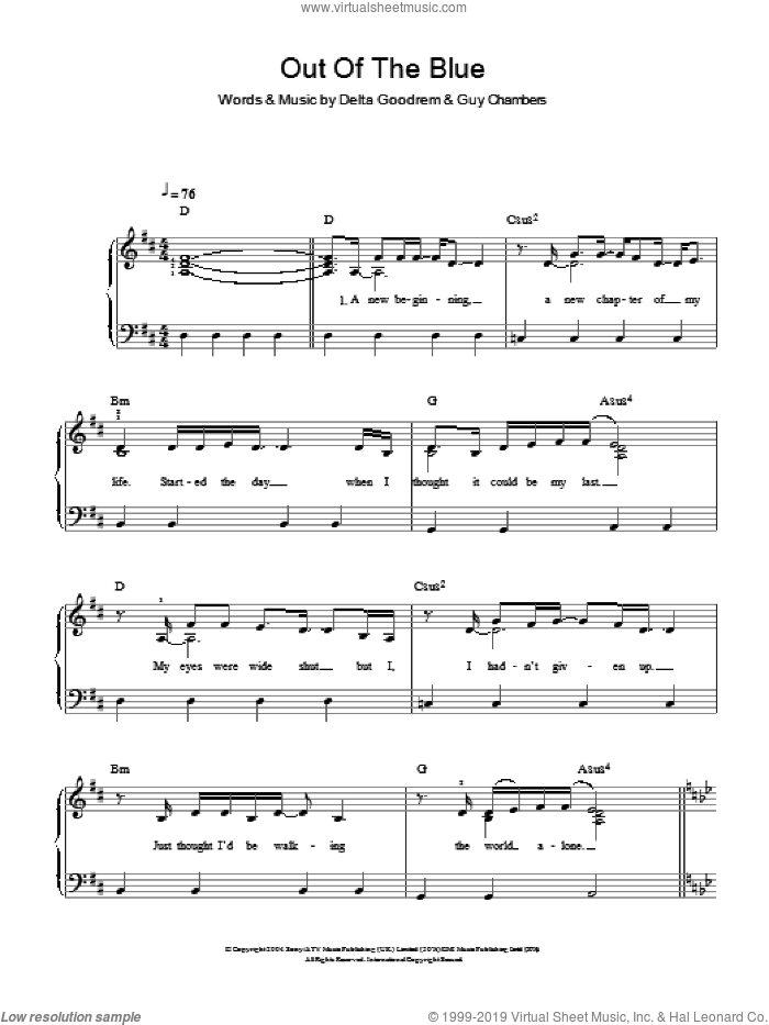 Out Of The Blue sheet music for piano solo by Guy Chambers