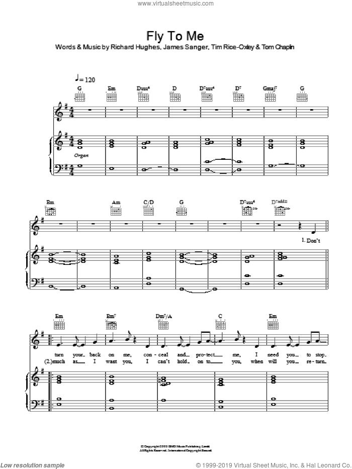 Fly To Me sheet music for voice, piano or guitar by Tom Chaplin