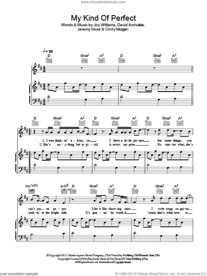 My Kind Of Perfect sheet music for voice, piano or guitar by Joy Williams