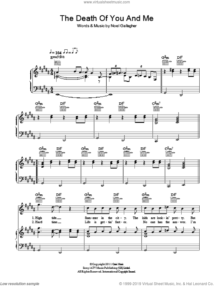The Death Of You And Me sheet music for voice, piano or guitar by Noel Gallagher. Score Image Preview.