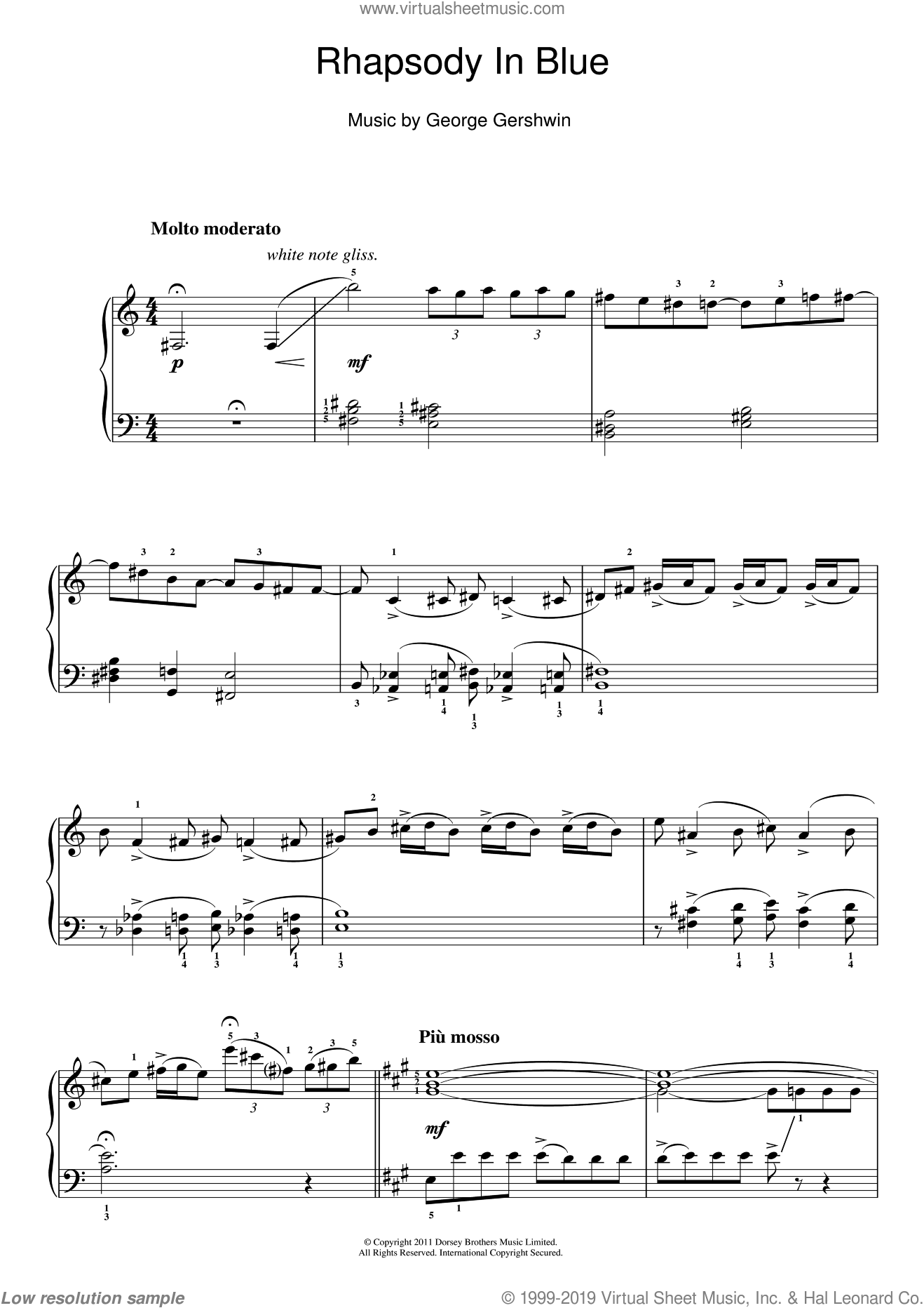 Rhapsody In Blue sheet music for piano solo by George Gershwin, easy
