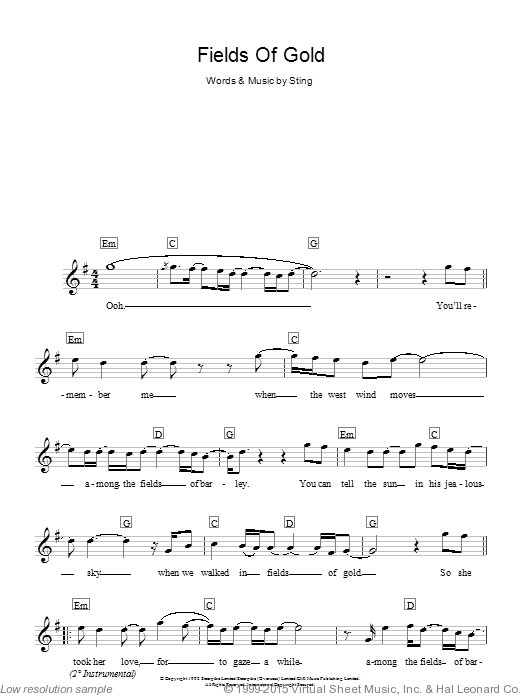 Fields Of Gold sheet music for piano solo (chords, lyrics, melody) by Eva Cassidy