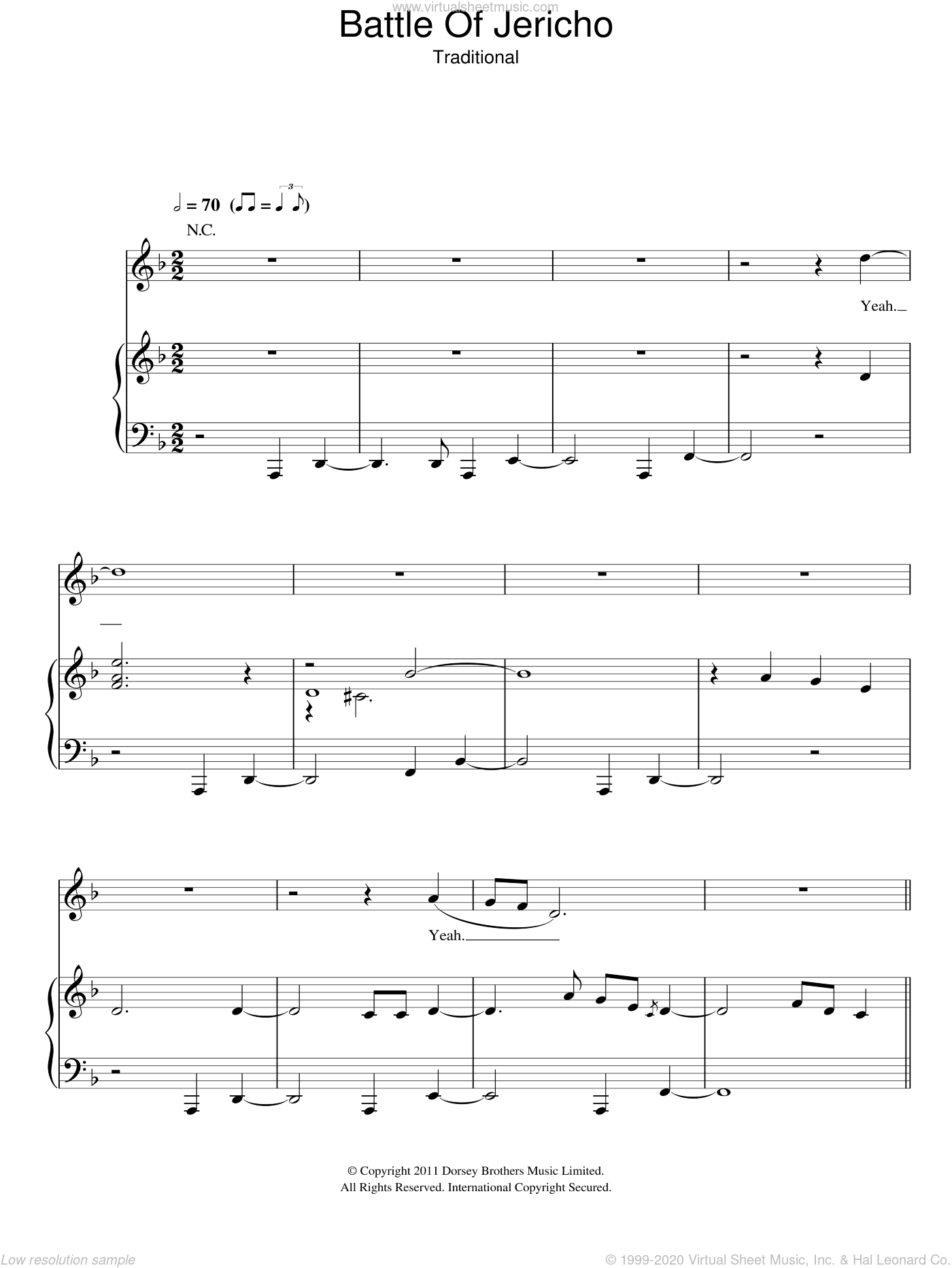 Joshua Fit De Battle Of Jericho sheet music for voice, piano or guitar. Score Image Preview.
