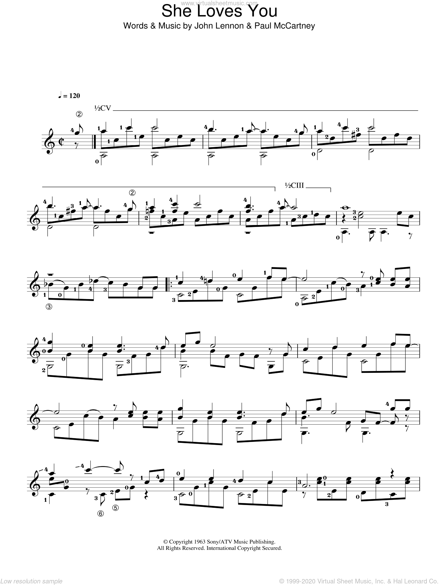 She Loves You sheet music for guitar solo (chords) by Paul McCartney, The Beatles and John Lennon. Score Image Preview.
