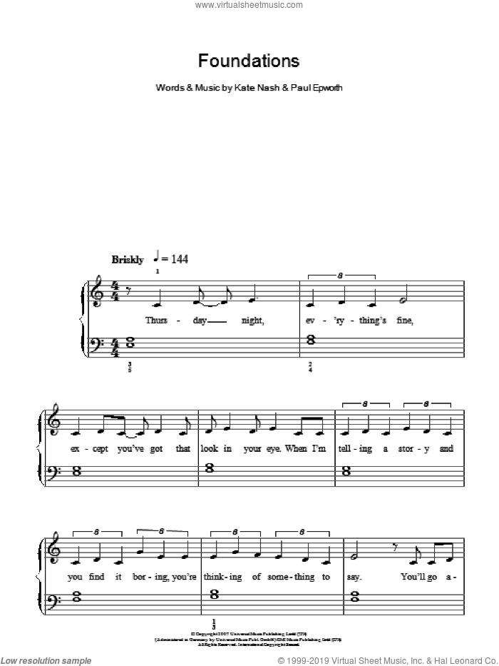 Foundations sheet music for piano solo by Kate Nash and Paul Epworth, easy skill level