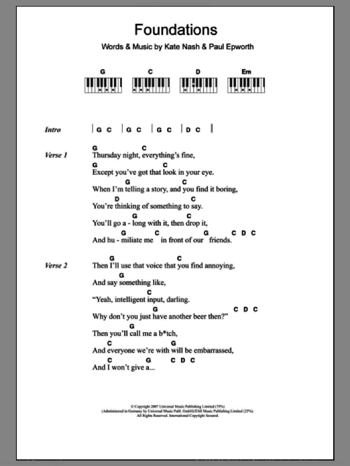 Foundations sheet music for piano solo (chords, lyrics, melody) by Paul Epworth and Kate Nash. Score Image Preview.