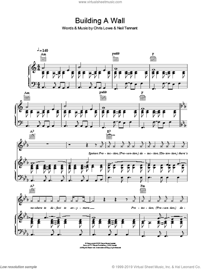 Building A Wall sheet music for voice, piano or guitar by The Pet Shop Boys, Chris Lowe and Neil Tennant, intermediate skill level
