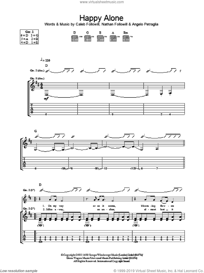 Happy Alone sheet music for guitar (tablature) by Nathan Followill, Kings Of Leon, Angelo Petraglia and Caleb Followill. Score Image Preview.