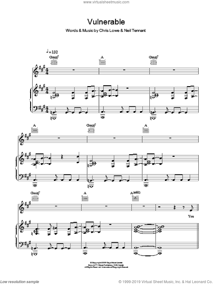 Vulnerable sheet music for voice, piano or guitar by The Pet Shop Boys, intermediate. Score Image Preview.