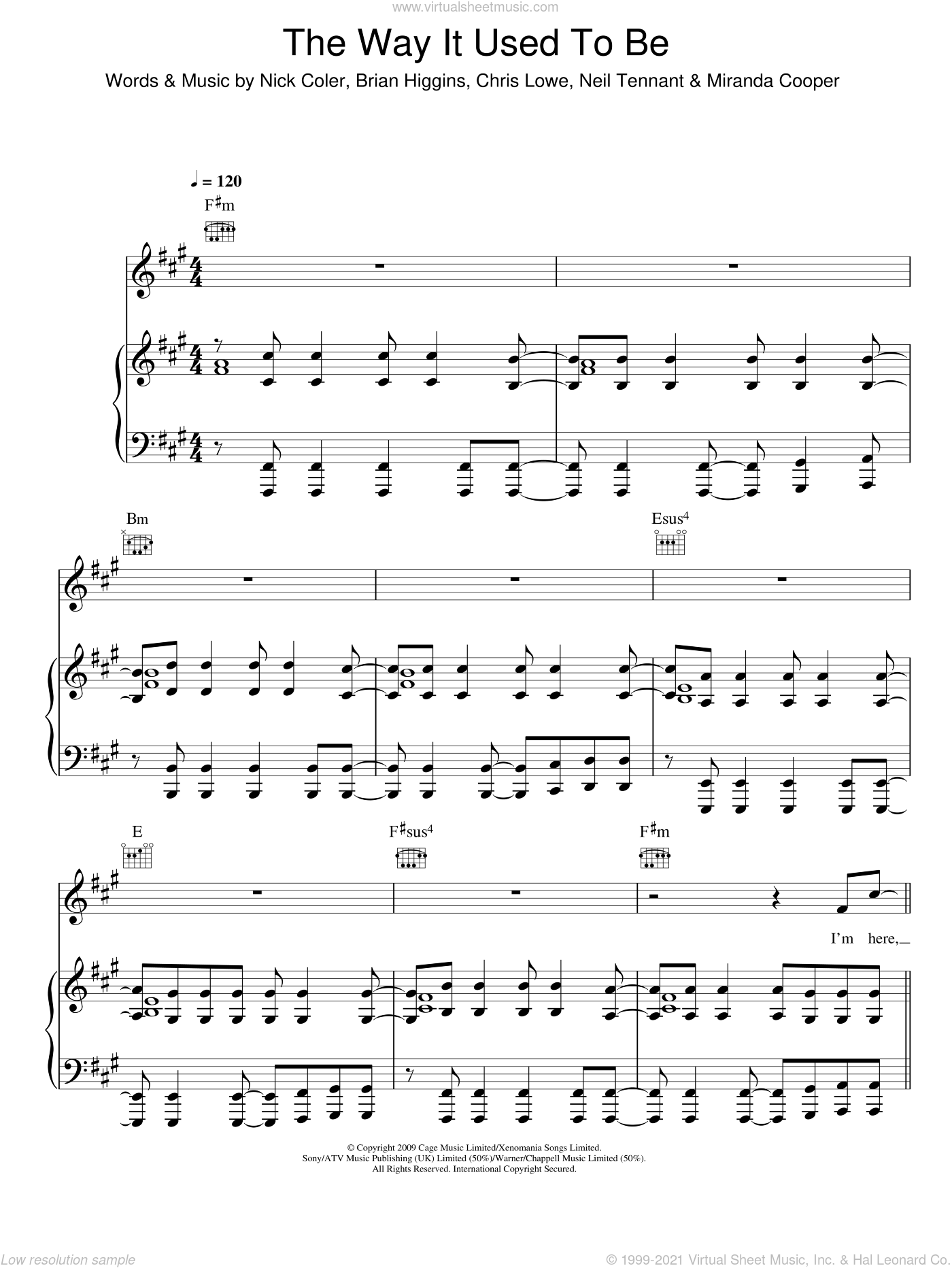 The Way It Used To Be sheet music for voice, piano or guitar by The Pet Shop Boys, Brian Higgins, Chris Lowe, Miranda Cooper, Neil Tennant and Nick Coler, intermediate skill level