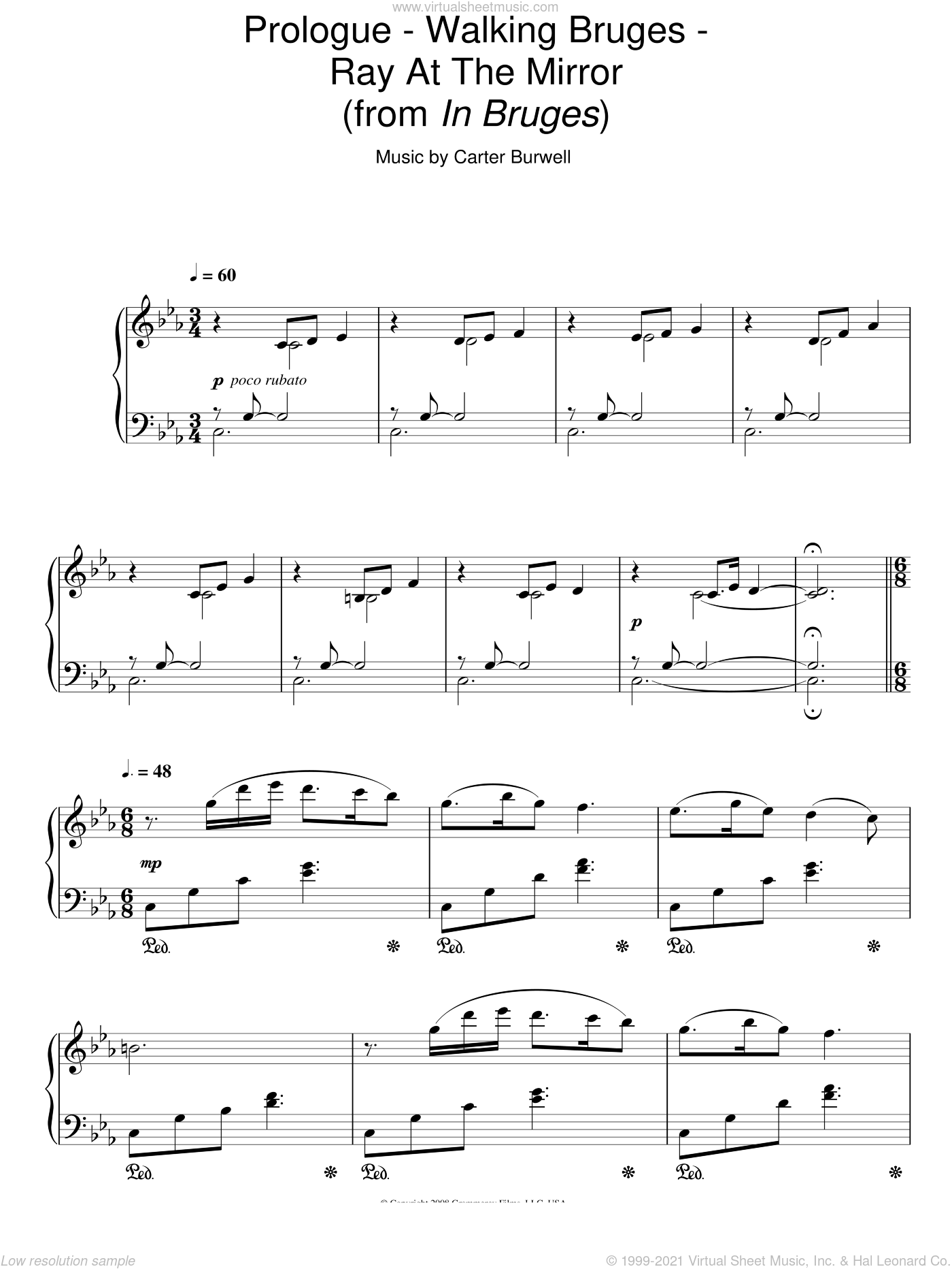 Prologue - Walking Bruges - Ray At The Mirror sheet music for piano solo by Carter Burwell, intermediate piano. Score Image Preview.