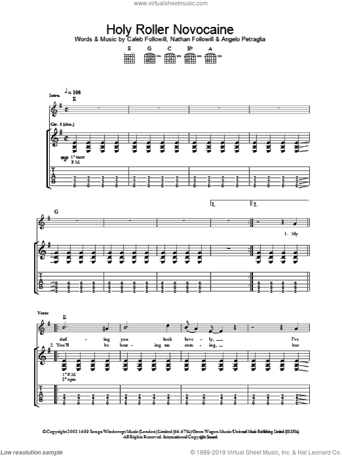 Holy Roller Novocaine sheet music for guitar (tablature) by Kings Of Leon. Score Image Preview.
