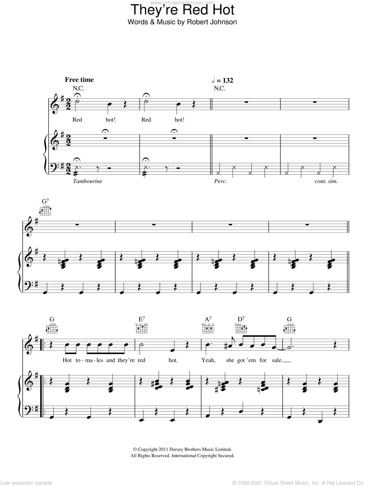They're Red Hot sheet music for voice, piano or guitar by Hugh Laurie and Robert Johnson, intermediate voice, piano or guitar. Score Image Preview.