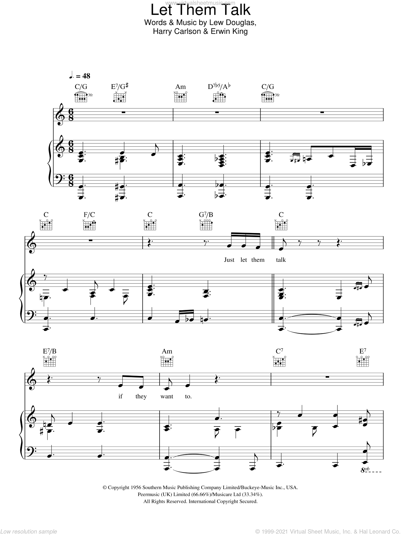 Let Them Talk sheet music for voice, piano or guitar by Lew Douglas. Score Image Preview.