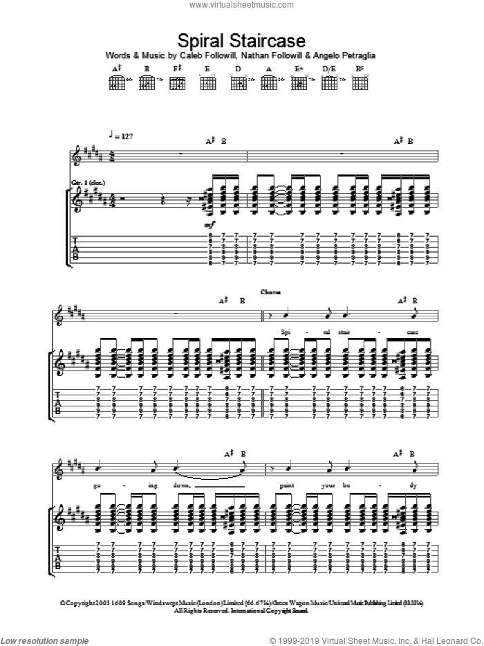 Spiral Staircase sheet music for guitar (tablature) by Nathan Followill, Kings Of Leon, Angelo Petraglia and Caleb Followill. Score Image Preview.