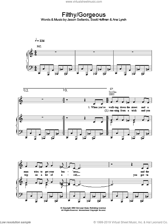 Filthy/Gorgeous sheet music for voice, piano or guitar by Scissor Sisters, Ana Lynch, Jason Sellards and Scott Hoffman, intermediate