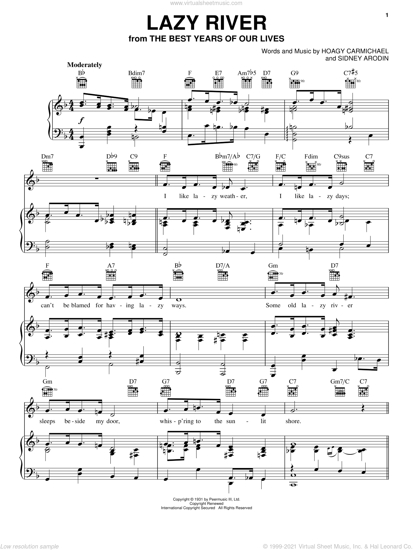 Lazy River sheet music for voice, piano or guitar by Bobby Darin, Hoagy Carmichael and Sidney Arodin, intermediate skill level