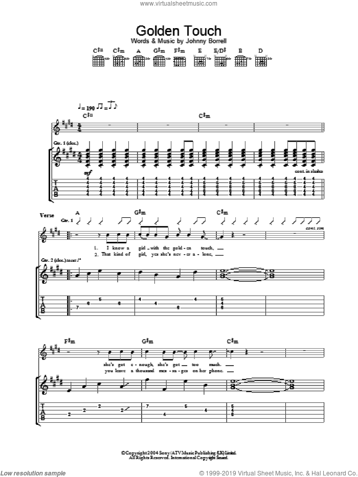 Golden Touch sheet music for guitar (tablature) by Johnny Borrell