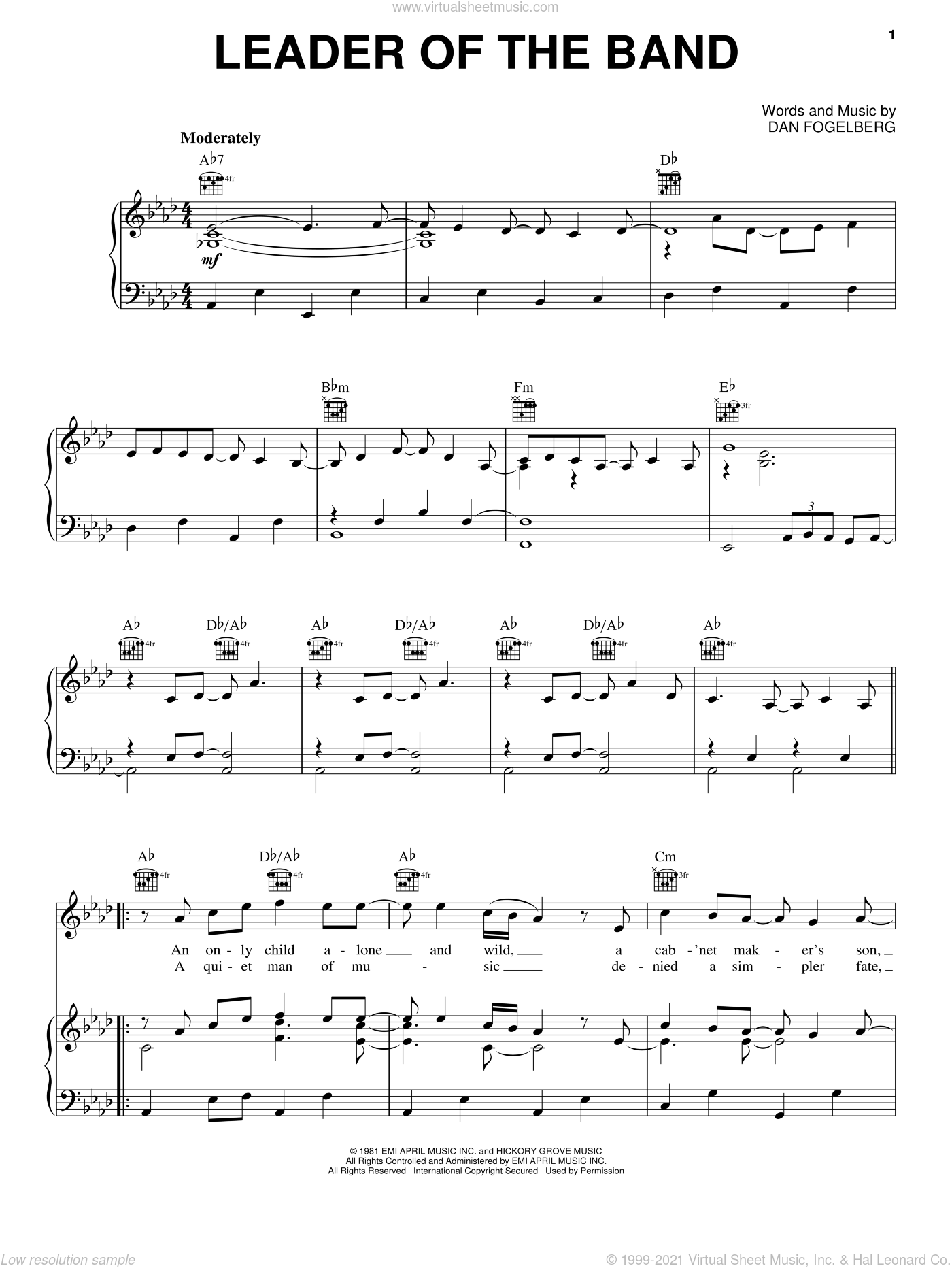Leader Of The Band sheet music for voice, piano or guitar by Dan Fogelberg, intermediate skill level