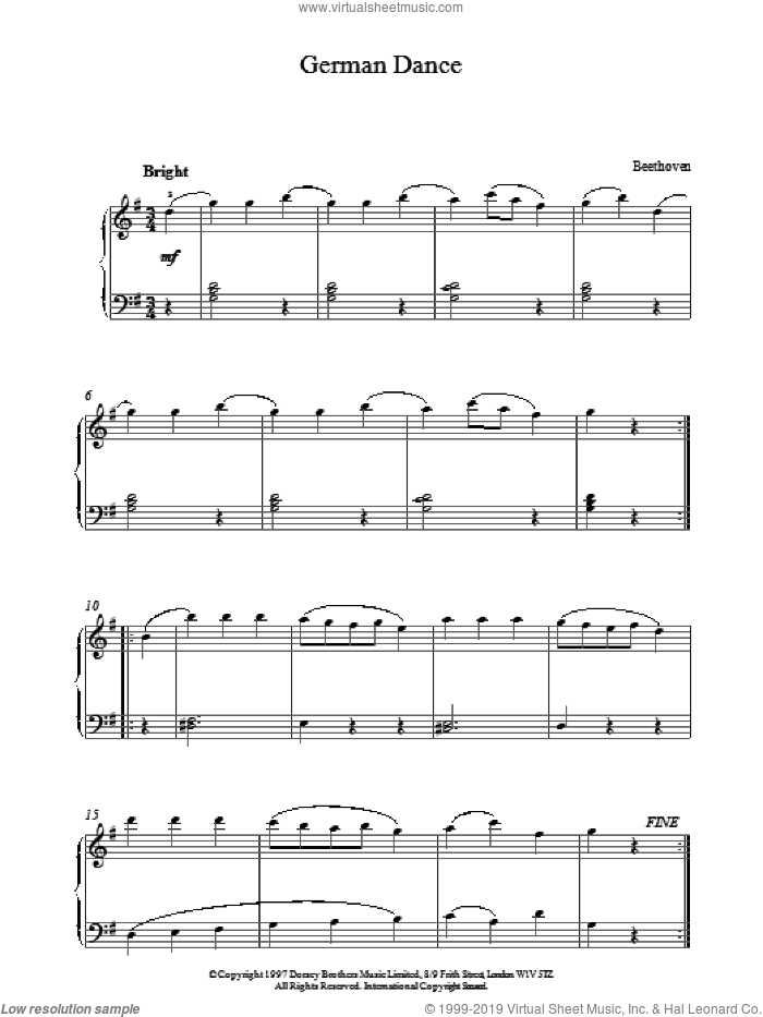 German Dance sheet music for piano solo by Franz Joseph Haydn and Ludwig van Beethoven. Score Image Preview.