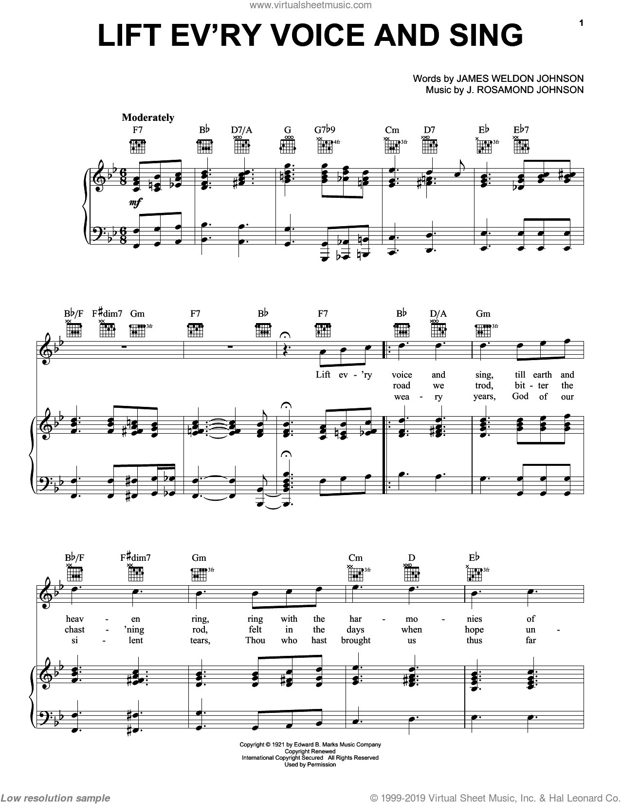 Lift Ev'ry Voice And Sing sheet music for voice, piano or guitar by J. Rosamond Johnson and James Weldon Johnson, intermediate. Score Image Preview.