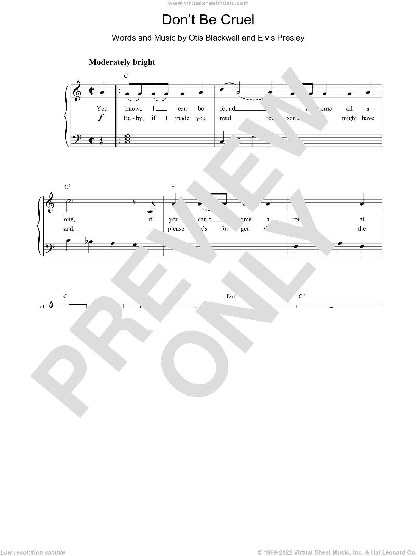 Don't Be Cruel (To A Heart That's True) sheet music for piano solo by Otis Blackwell and Elvis Presley. Score Image Preview.