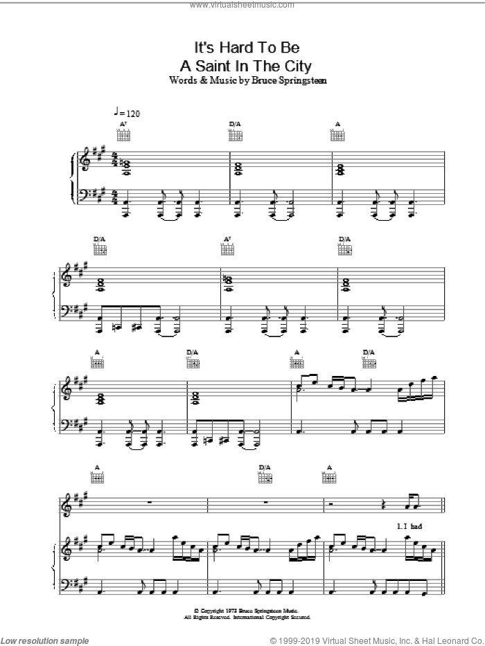 It's Hard To Be A Saint In The City sheet music for voice, piano or guitar by Bruce Springsteen, intermediate skill level