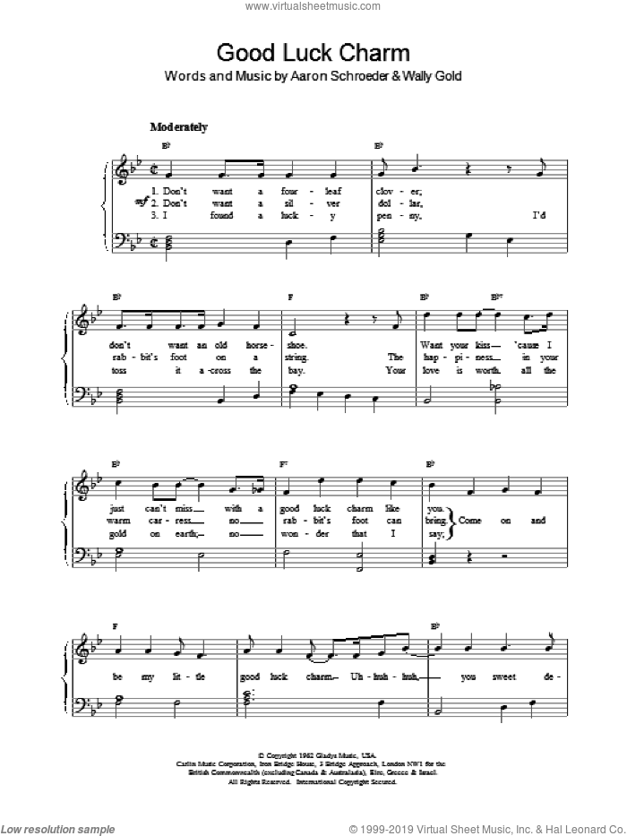 Good Luck Charm sheet music for piano solo by Elvis Presley, Aaron Schroeder and Wally Gold, intermediate piano. Score Image Preview.
