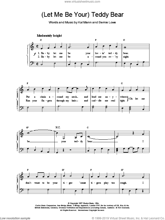 (Let Me Be Your) Teddy Bear sheet music for piano solo by Elvis Presley, Bernie Lowe and Kal Mann, easy skill level