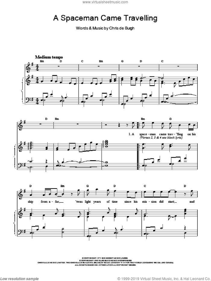 A Spaceman Came Travelling sheet music for voice, piano or guitar by Chris de Burgh, intermediate. Score Image Preview.