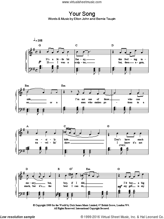 Your Song sheet music for piano solo by Bernie Taupin and Elton John. Score Image Preview.