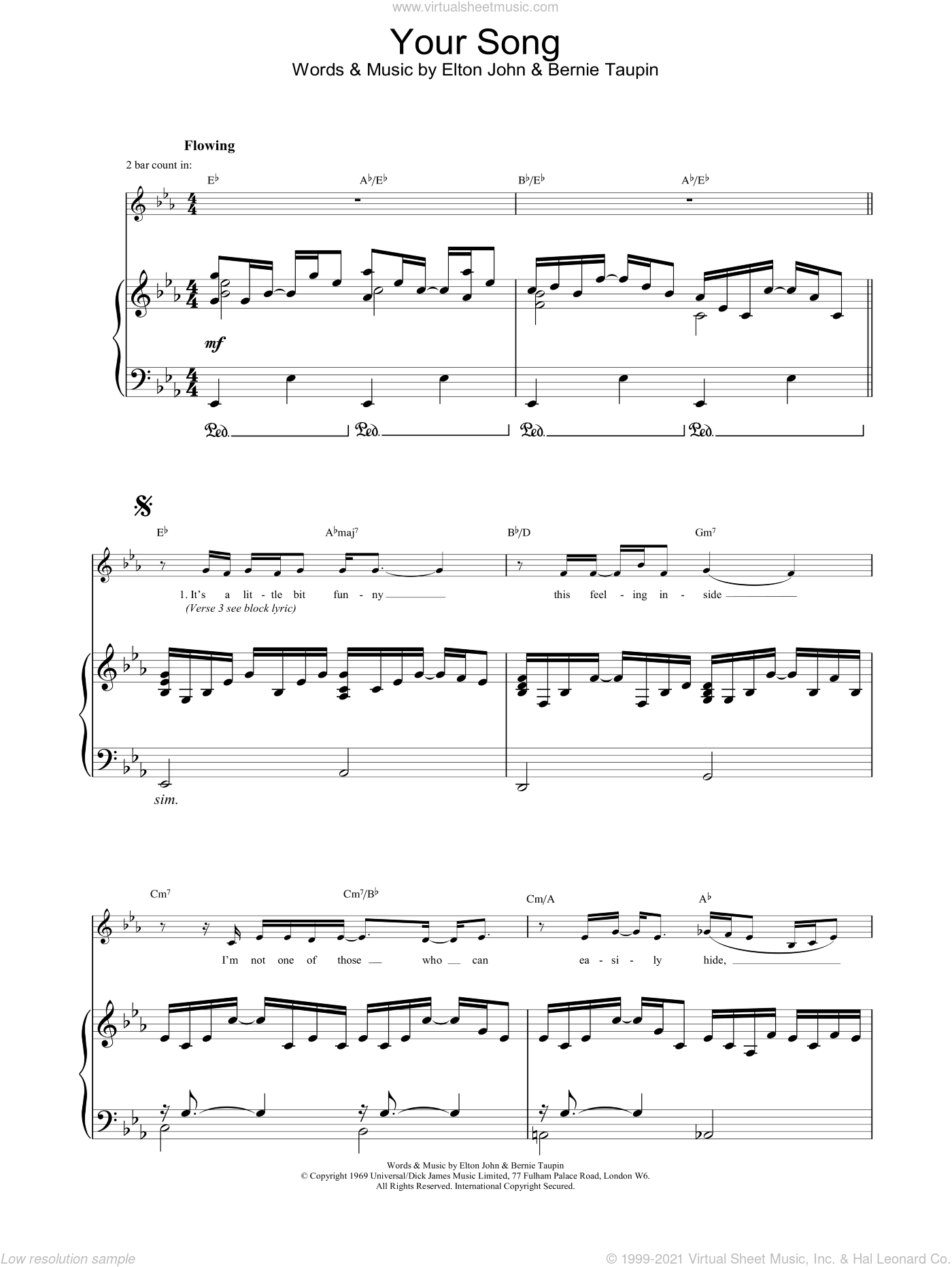Your Song sheet music for voice, piano or guitar by Ewan McGregor, Bernie Taupin and Elton John, intermediate skill level
