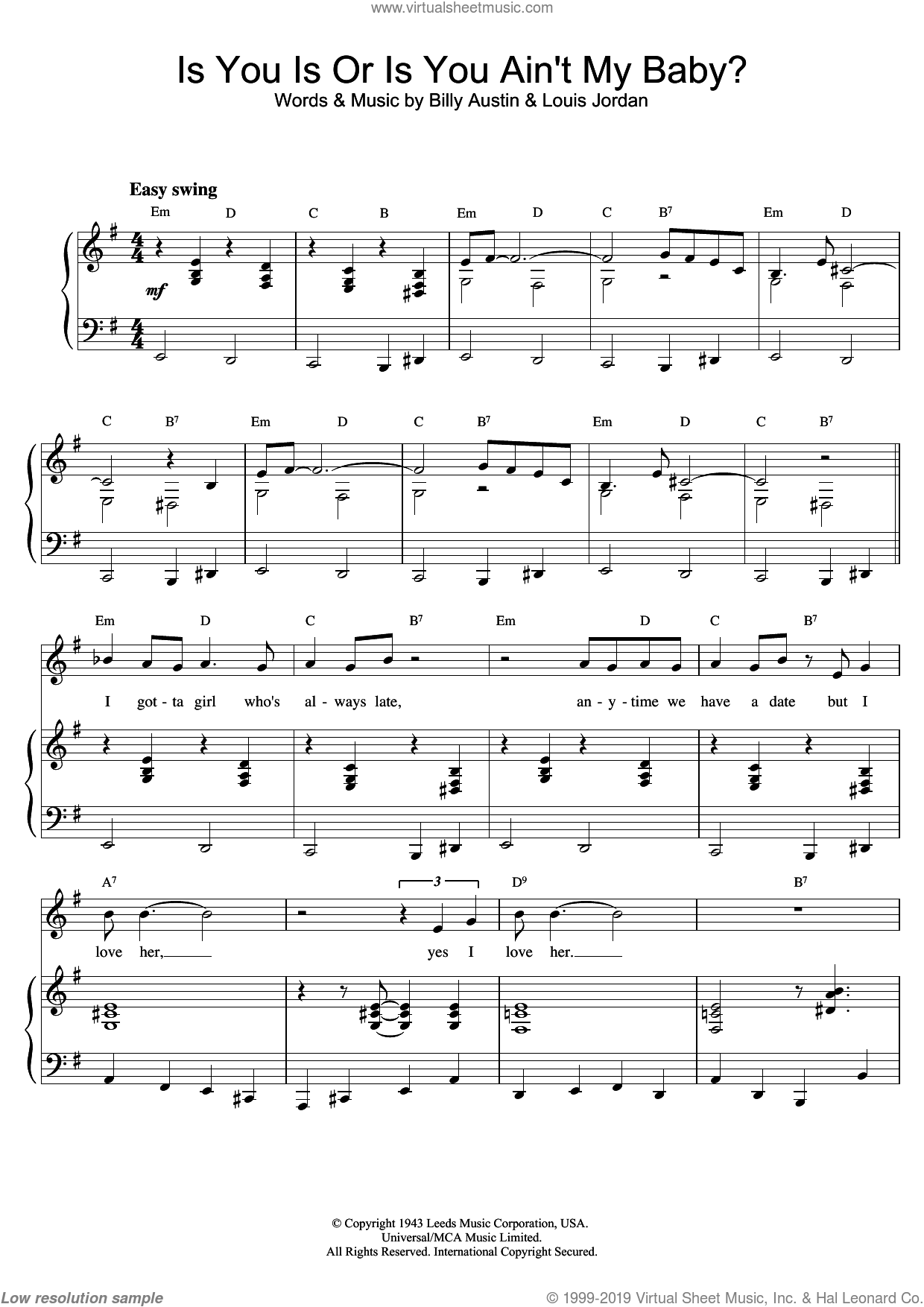Is You Is Or Is You Ain't My Baby? sheet music for voice and piano by Louis Armstrong, Austin,Billy, Billy Austin and Louis Jordan, intermediate skill level