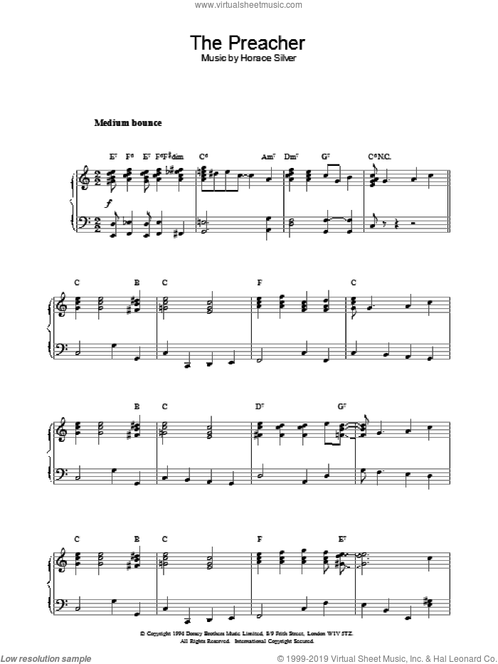 The Preacher sheet music for piano solo by Stuart Gorrell and Carmichael,H, intermediate skill level