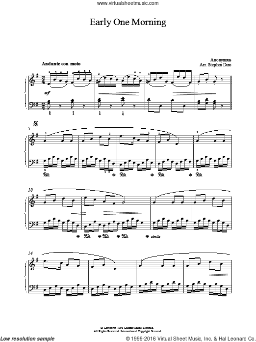 Early One Morning sheet music for piano solo by Anonymous, intermediate piano. Score Image Preview.