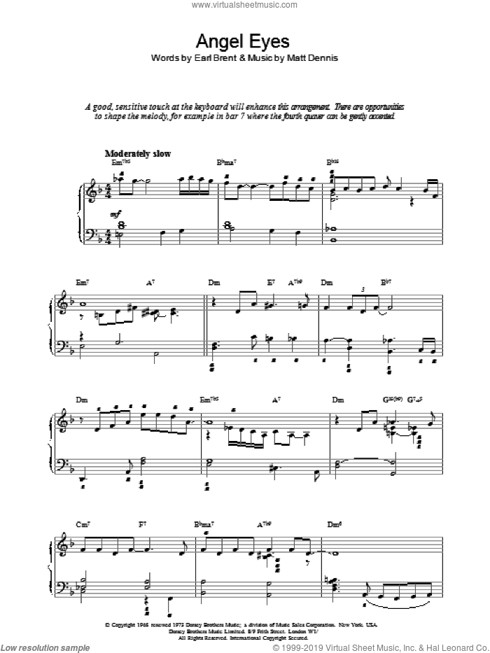 Angel Eyes sheet music for piano solo by Earl Brent