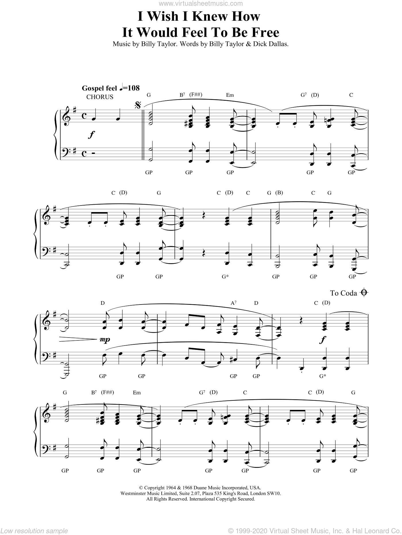 I Wish I Knew How It Would Feel To Be Free sheet music for piano solo by Billy Taylor and Miscellaneous, intermediate skill level