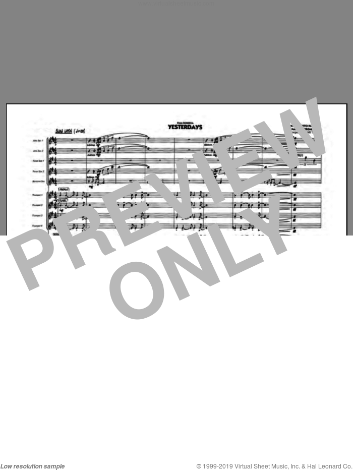 Yesterdays (COMPLETE) sheet music for jazz band by Jerome Kern, Otto Harbach and Mark Taylor, intermediate. Score Image Preview.