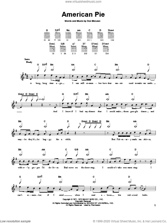 American Pie sheet music for guitar solo (chords) by Don McLean, easy guitar (chords)