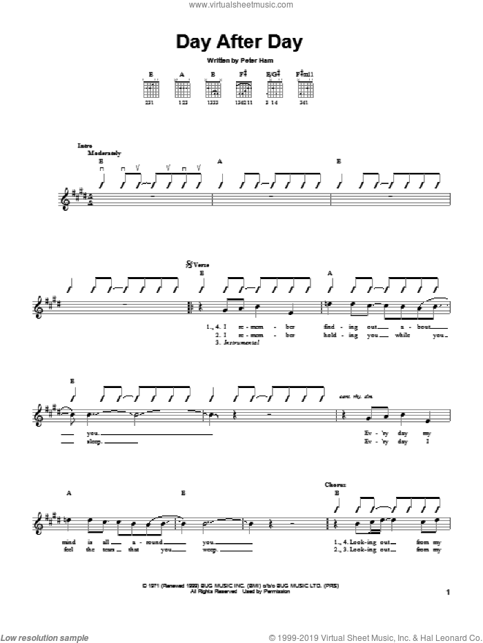 Day After Day sheet music for guitar solo (chords) by Pete Ham, easy guitar (chords). Score Image Preview.