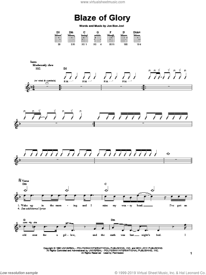 Jovi Blaze Of Glory Sheet Music For Guitar Solo Chords Pdf