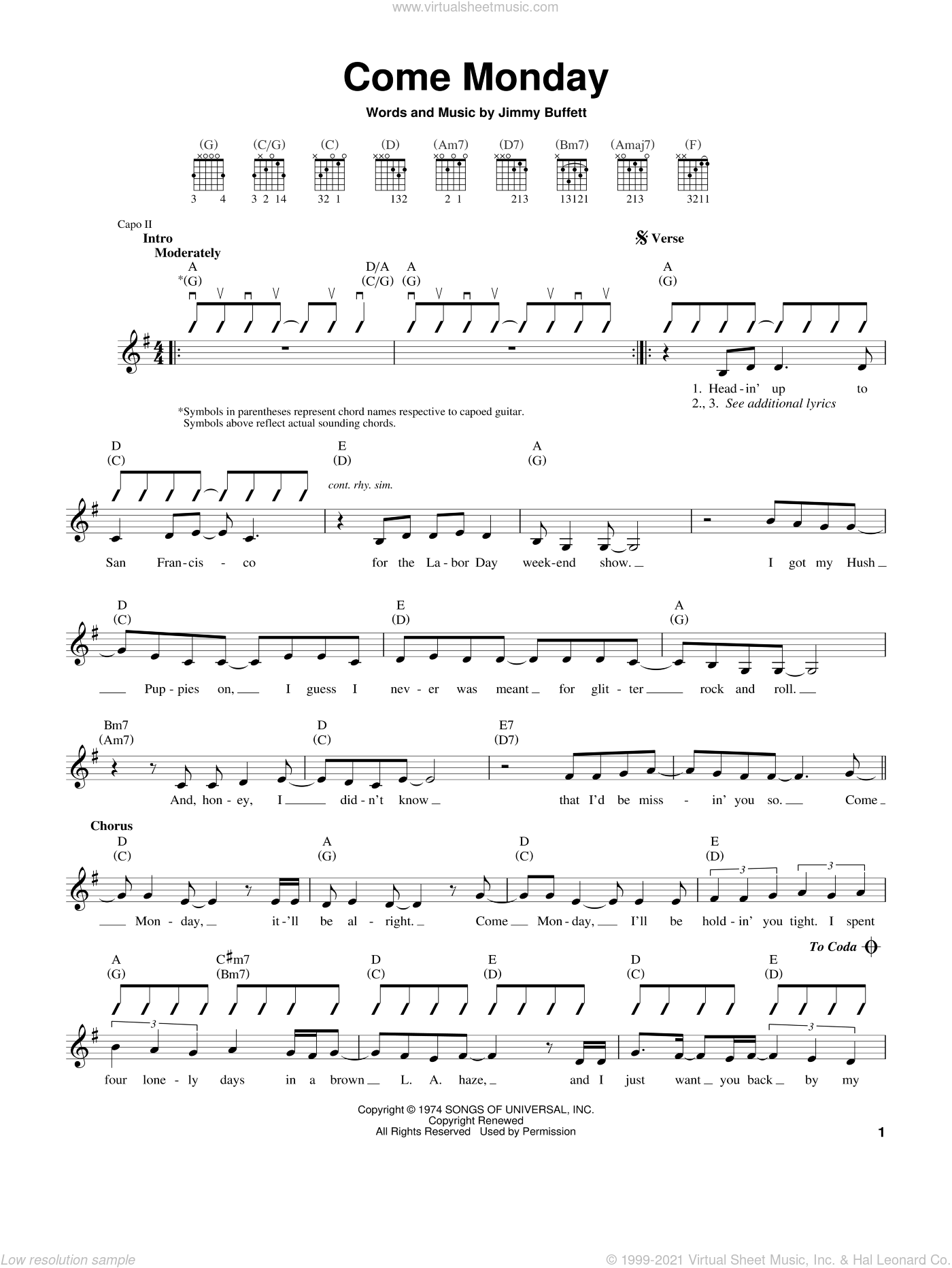 Come Monday sheet music for guitar solo (chords) by Jimmy Buffett. Score Image Preview.