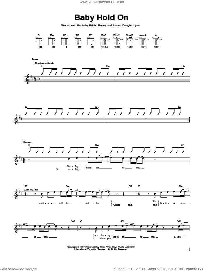 Baby Hold On sheet music for guitar solo (chords) by Eddie Money. Score Image Preview.